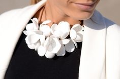 White floral statement necklace. Statement jewelry.