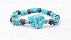《《 OIL DIFFUSER COLLECTION 》》   ~~THE DETAILS~~  This handmade Aromatherapy Essential Oil Diffuser Bracelet is designed with gorgeously textured Turquoise Nugget Gemstones, rich Black Natural Lava Stone,  Silver Bali Barrel Beads; finished with an intricately detailed Silver Buddha Charm!   ~~THE Gemstone Bracelets, Silver Bracelets, Bracelets For Men, Aromatherapy Jewelry, Birthstone Charms, Oil Diffuser, Turquoise Stone, Stone Beads, Lava