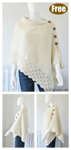knit crochet This Knit Look Crochet Poncho Free Pattern uses simple stitches to create crochet that looks like knitting. It will keep you warm and stylish. Poncho Au Crochet, Crochet Poncho Patterns, Crochet Scarves, Knitting Patterns Free, Crochet Clothes, Free Knitting, Free Crochet, Knit Crochet, Free Pattern