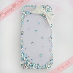 Simple Sweet Blue Crystal Decoden iPhone 5 Case | $15.00 SHOP: Kawaii x Couture DecodenHandmade decoden phone cases, jewelry, & accessories ♡