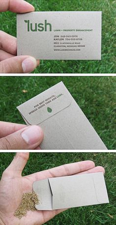 Business card/seed packet for a small lawn care company.