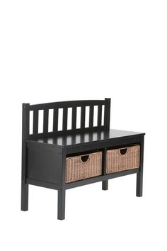 Black Bench with Brown Rattan Baskets by Modern Furniture and Decor Essentials on @HauteLook