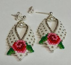 Your place to buy and sell all things handmade Russian Leaf Earrings with Roses Your Choice of Silver or Beaded Earrings Patterns, Jewelry Patterns, Beading Patterns, Beaded Jewelry, Beaded Bracelets, Fall Jewelry, Brick Stitch Earrings, Seed Bead Earrings, Leaf Earrings