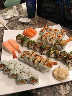 Our dinner tonight. Think Food, I Love Food, Good Food, Yummy Food, Tasty, Sashimi, Asian Recipes, Healthy Recipes, Sushi Recipes