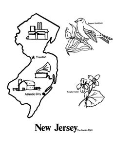 Usa Printables State Outline Shape And Demographic Map State Of New Jersey Coloring