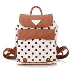 Polka Dot PU School Bag Travel Backpack