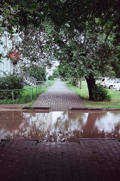 Across the street, across the river