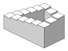 The Penrose stairs or Penrose steps, also dubbed the impossible staircase, is an impossible object created by Lionel Penrose and his son Roger Penrose.