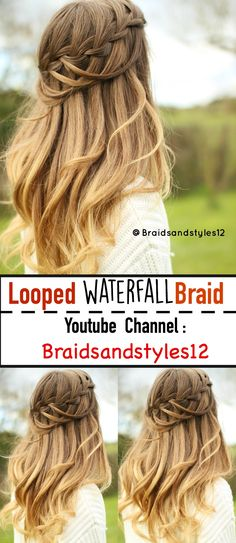 Looped Waterfall Braid by Braidsandstyles12. Click the link or below for a DIY Hair Tutorial : https://www.youtube.com/watch?v=3BZb2Q7mjIQ