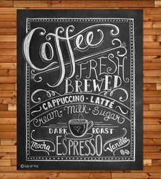 Coffee Love Chalkboard Art Print - 11x14 by Lily & Val