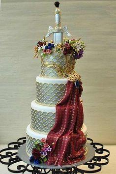The fondant draped cloth is incredible... | Cake Wrecks - Home - Sunday Sweets: Geek Chic WeddingCakes