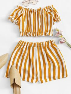 Off Shoulder Striped Crop Top With ShortsFor Women-romwe Cute Comfy Outfits, Cute Girl Outfits, Kids Outfits Girls, Teenage Outfits, Teen Fashion Outfits, Cute Summer Outfits, Cute Fashion, Trendy Outfits, Girl Fashion