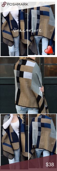 Chic Colorblock poncho Blue tone color block poncho which is a fabulous layering look for fall . Nwot super soft acrylic material and perfect weight for layering in fall winter . Nwot one size will fit up to size XXXL Vivacouture Accessories Scarves & Wraps