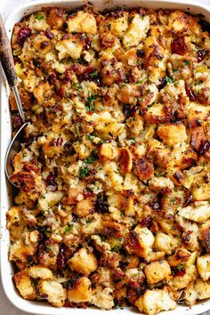 Sausage & Herb Stuffing Recipe is FULLY STUFFED with so much flavour, and perfect for serving as a Thanksgiving side with gravy! Sausage And Herb Stuffing Recipe, Best Stuffing Recipe, Homemade Stuffing, Stuffing Recipes For Thanksgiving, Thanksgiving Sides, Christmas Recipes, Thanksgiving Desserts, Christmas Desserts, Turkey Stuffing With Sausage