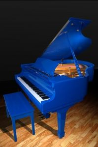 Cobalt blue grand piano. drool...