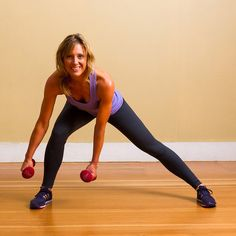 The side lunge works the muscle on the side of the pelvis as well as the inner thighs, while the curtsy move tones your tush.  Holding a five- to 10-pound weight in your left hand, stand with your feet and knees together, hands on your hips. Take a large