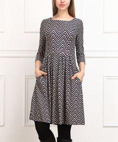 Look what I found on #zulily! Black Pixelated Chevron Fit & Flare Dress #zulilyfinds
