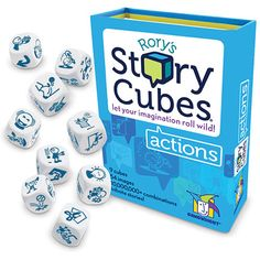 $9.99 Rory's Story Cubes Actions - Start with verbs to put your imagination in motion! 1 or more players Ages 8-12 yrs.