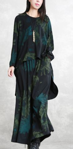 f4d174ac0f9 boutique floral cotton blended two pieces oversized maxi t shirts top  quality long sleeve asymmetric o neck pockets tops cotton blended baggy  trouse