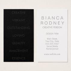 Classic Bold Text Business Card - monogram gifts unique design style monogrammed diy cyo customize