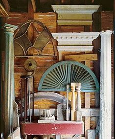 First and foremost I would use salvage and recycle materials or products any time I possibly could if building a tiny house! Wood Architecture, Architecture Details, Trash To Treasure, Building Materials, Architectural Antiques, Architectural Models, Salvaged Decor, House Journal, Building A Tiny House