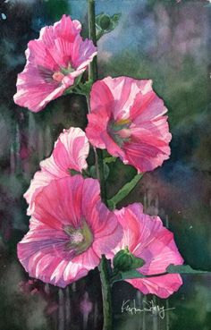 We had hollyhocks on the side of our house and when I was young, I would pick them and stack two or three to make a doll. This reminds me of my perfect childhood, plus it's a beautiful  painting.