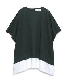 Mila Owen(ミラ オーウェン)の裾切替えワイドプルオーバー(Tシャツ/カットソー)|グリーン