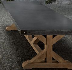 Industrial topped metal table with Wood legs