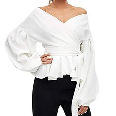 e9d9c10ef350b2 LISTHA Sexy V-Neck Peplum Long Sleeve Tops Women Floral Ruffled Blouse T  Shirts at
