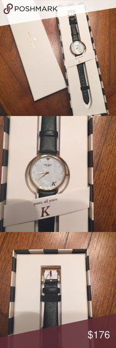 ⚡️SALE⚡️ Kate spade watch New in box. Never worn. Not able to return but purchased new! White face with gold hardware and black band. kate spade Accessories Watches