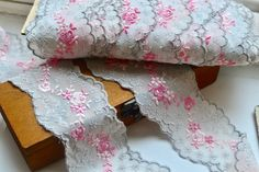 Grey embroidered trim I Embroidered lace trim I Embroidered trim I Pink embroidered trim I Lace trim I Shabby chic trim I Border trim by SixthCraft on Etsy