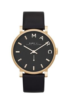 MARC by Marc Jacobs 'Baker' Leather Strap Watch