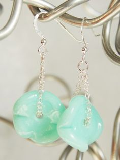Seafoam Ruffle Earrings -SOLD-