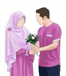 kumpulan kartun romantis parf 2 - my ely Wedding Couple Cartoon, Love Cartoon Couple, Cute Couple Art, Cute Muslim Couples, Muslim Girls, Cute Couples, Muslim Women, Cartoon Girl Drawing, Girl Cartoon