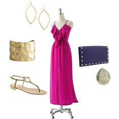 pink maxi dress, created by classicboho on Polyvore