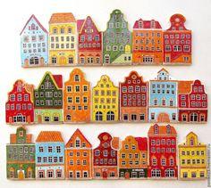 """Купить Керамический фартук на кухню """"Европа"""" - разноцветный, домик, домики, европа, керамика ручной работы"""
