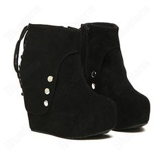 Discount China china wholesale Women's Sexy Platform High Wedge Inner Heel Back Lace Boots Mid Calf Faux Suede Shoes [50063] - US$17.99 : DealsChic