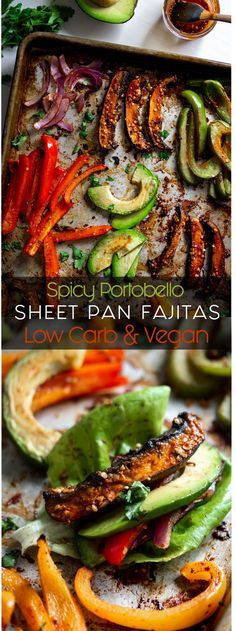 ll Inspector Gorgeous The post Spicy Portobello Sheet Pan Fajitas appeared first on Vegan. Veggie Recipes, Mexican Food Recipes, Whole Food Recipes, Cooking Recipes, Healthy Recipes, Cooking Tips, Vegan Fajitas, Vegetarian Fajitas, Clean Eating Snacks