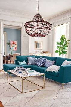 Home Decorating Style 2019 for Living Room Ideas Teal Sofa, you can see Living Room Ideas Teal Sofa and more pictures for Home Interior Designing 2019 684 at HGTVimage. Living Room Turquoise, Teal Living Rooms, Living Room Colors, Living Room Grey, Home Living, Living Room Furniture, Living Room Designs, Turquoise Couch, Turquoise Accents