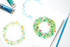Learn how to make watercolor flower wreaths in three different ways of easy, intermediate and hard. Perfect for the beginner in watercolors or a seasoned illustrator. Detailed art tutorial with images on Inkstruck Studio.