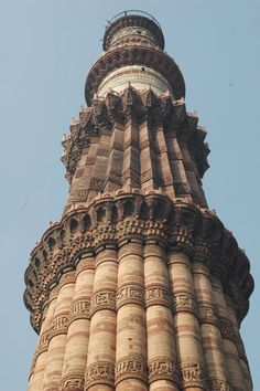 @Elizabeth   The Qutub Minar is the tallest minaret in India with a height of 72.5 meters (237.8 ft). The structure is constructed with red sandstone and marble. The construction of the Qutub Minar was commenced by Qutb-ud-din Aibak in 1199 A.D and completed by Iltutmish in 1230s.The Qutub Minar is notable for being one of the earliest and most prominent examples of Indo-Islamic architecture. — at Qutub Minar,Delhi,India.