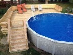 Popular Above Ground Pool Deck Ideas. This is just for you who has a Above Ground Pool in the house. Having a Above Ground Pool in a house is a great idea. Tag: a budget small yards Above Ground Pool Decks, Above Ground Swimming Pools, In Ground Pools, Oberirdische Pools, Lap Pools, Indoor Pools, Piscine Diy, Pool Deck Plans, Pool With Deck