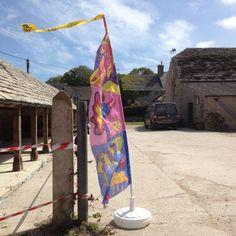Dinosaur flag at Rollington Barn Purbeck