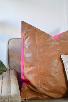 DIY recycled leather Pillow Tutorial