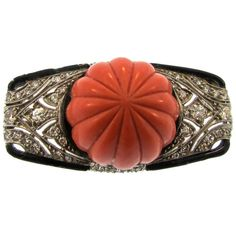 Art Deco Tiffany & Co. Coral Onyx and Diamond Brooch circa 1920..1st Dibs