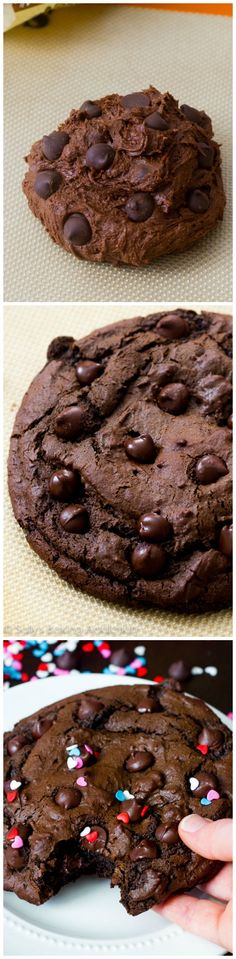 Recipe for one giant double chocolate chip cookie. Full of chocolate and big enough to share or keep all to yourself.