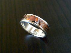 Mokume Gane Wave Wedding Ring ( MK-WAVE ) 6mm Wide