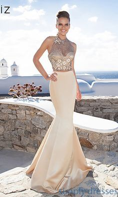 Strapless Sweetheart Dress with Overlay by Tarik Ediz at SimplyDresses.com