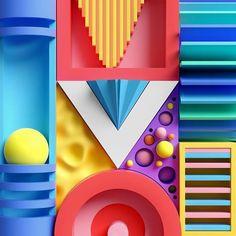 """352 Likes, 22 Comments - James van den Elshout (@jamesvde) on Instagram: """"V is for Velocity ➰ #36daysoftype #36days_v #36daysoftype04 @36daysoftype"""" Menu Bar, 3d Collage, Geometric 3d, Design Lab, Game Design, 3d Artwork, 3d Icons, Op Art, Motion Design"""