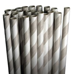 Stripe Gray Paper Party Straws